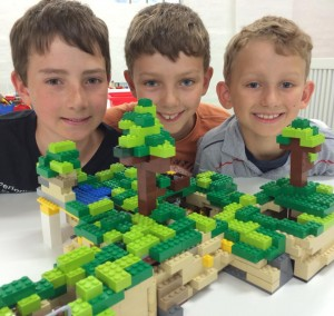 Lego 3 boys with Minecraft build