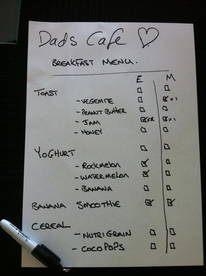dads cafe menu